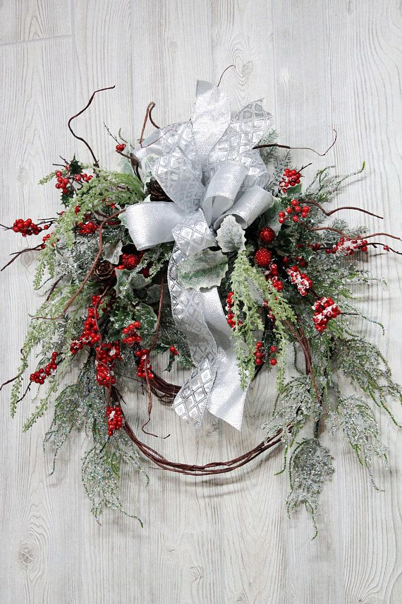 Ships Free Iced Winter Wreath with Red