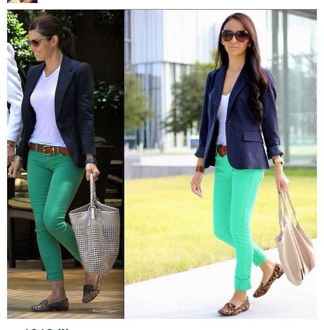 combinacion pantalon verde menta mujer - Buscar con Google