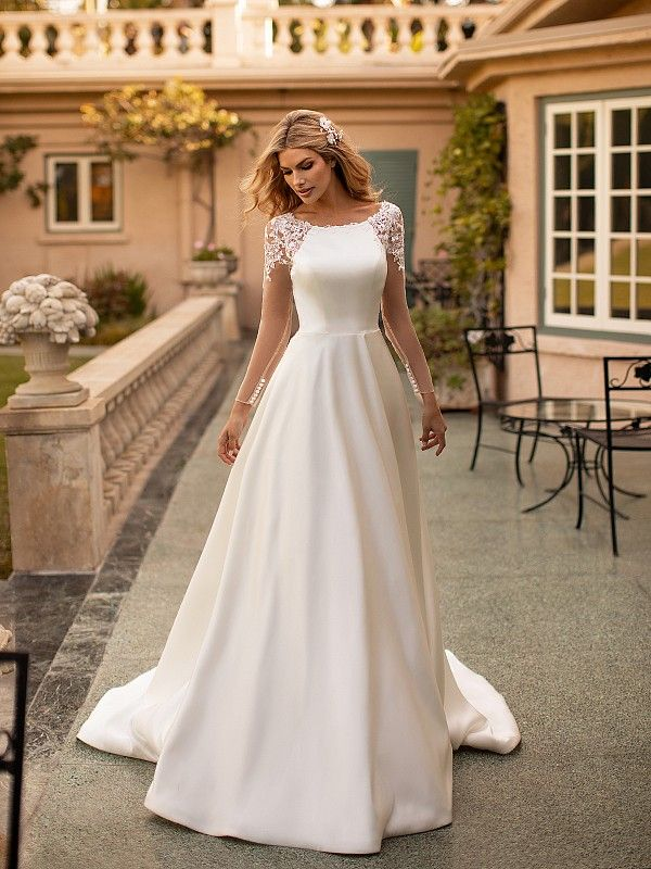 Moonlight Collection J6792 Bridal Gown With Illusion Back And Sleeves In 2020 Elegant Wedding Dresses Lace Classy Wedding Dress Simple Lace Wedding Dress