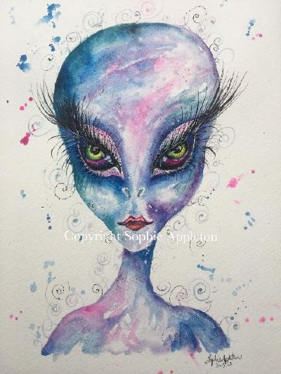 www.sixfootsophie.co.uk UFO Alien artwork painting by Sophie Appleton