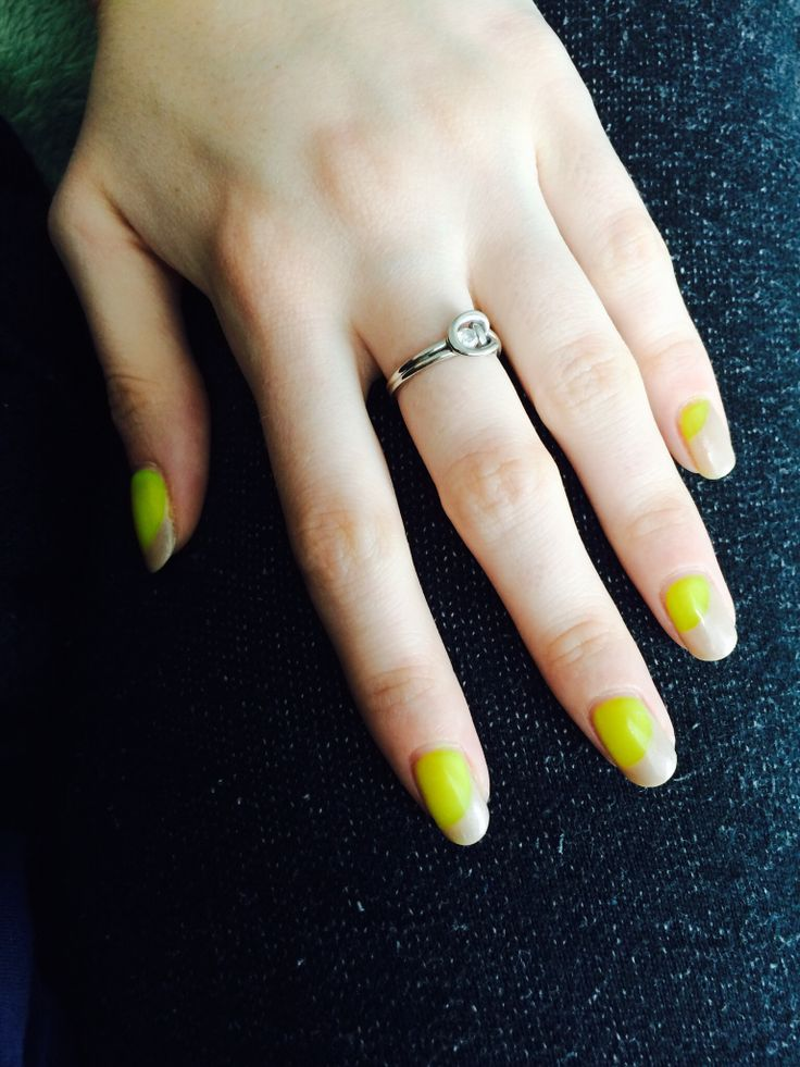 Gelish yellow and tan french manicure variation by s.doherty.