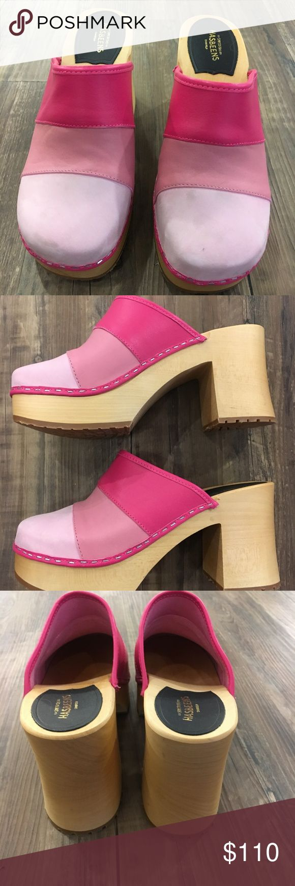 Swedish Hasbeens Color Combo Slip In in Pink Heel is 9.5 cm high (3.7 inches) Lime-tree wooden heel with rubber sole Italian natural grain leather, chrome free Swedish Hasbeens Shoes