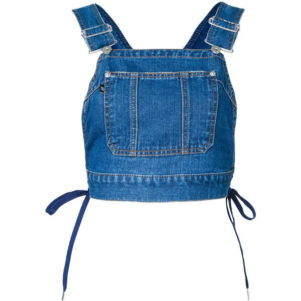 G.V.G.V. denim dungaree top ($310) ❤ liked on Polyvore featuring tops, blue, blue top, denim dungaree and denim top