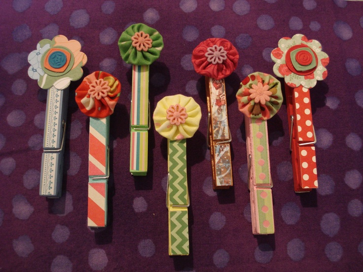Decorated Clothes Pins- would make great magnets!