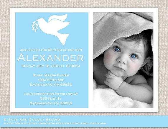 Baptism Invitation Christening Invitation by cuteandcuddlystudio, $13.00