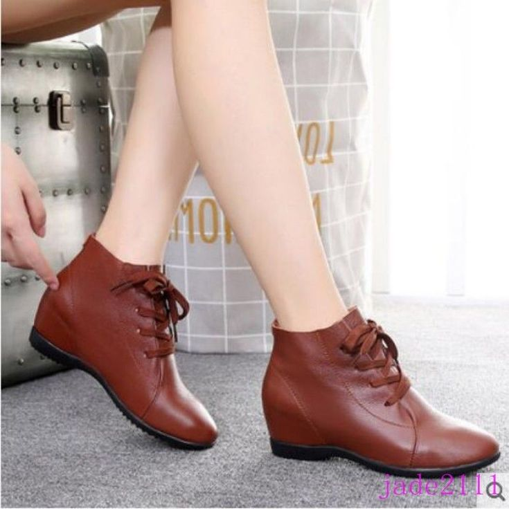 Leisure Lace Up Cowhide Womens Shoes Wedge Heels Ankle Boots Booties Shopping Sz