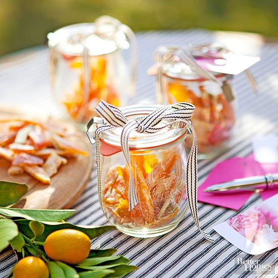 Send partygoers home with something sweet: candied citrus peel.