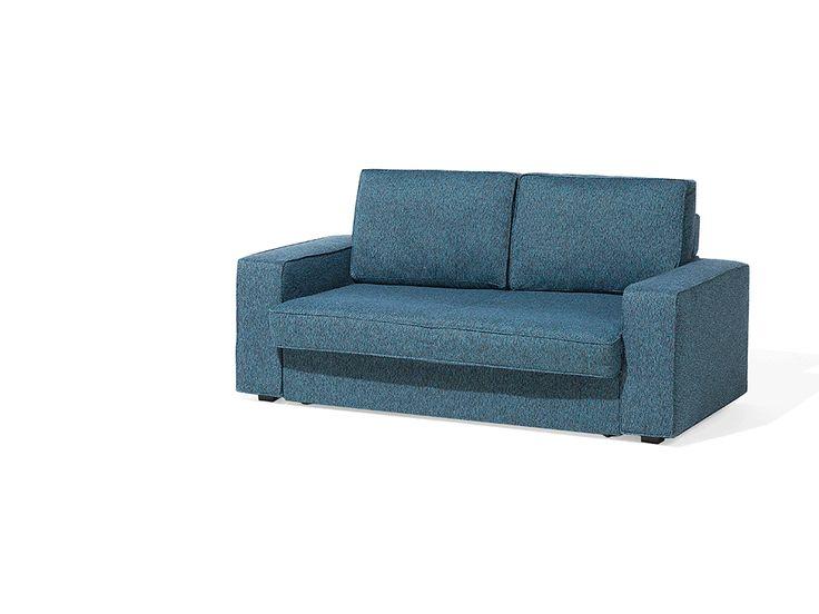 Sofa Z Funkcją Spania Tapicerowana Niebiesko Zielona SANDE