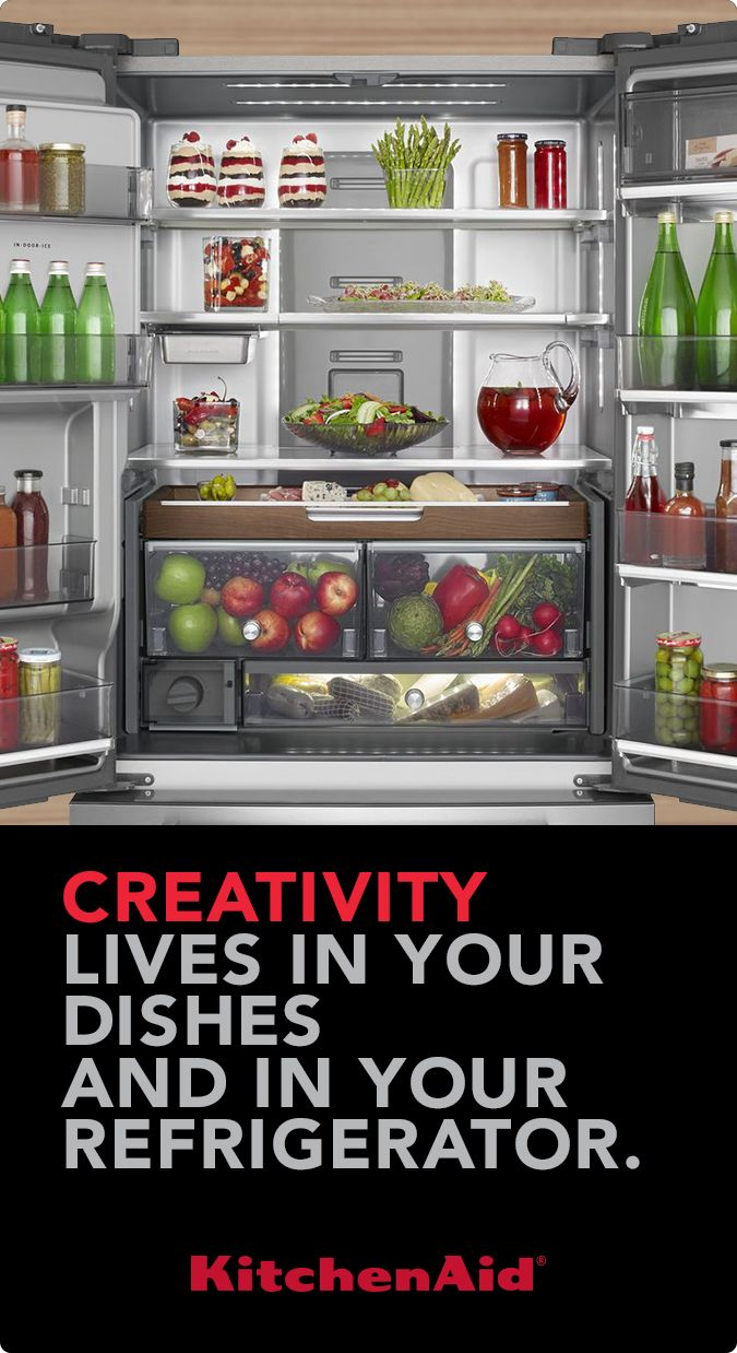 Learn more at KitchenAid.com about the amazing flexible storage solutions found in the largest capacity counter-depth refrigerator.