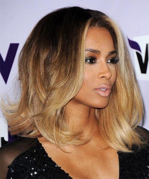 Ciara Ombre Life Fluffy Natural Medium Straight Lace Wig 100% Real Human Hair About 12 Inches