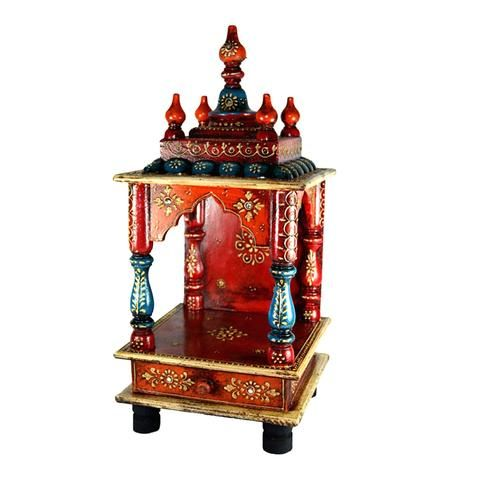 Multicoloured Embossed Small Temple Or Mandir With Drawer - FOLKBRIDGE.COM | Buy Gifts. Indian Handicrafts. Home Decorations.