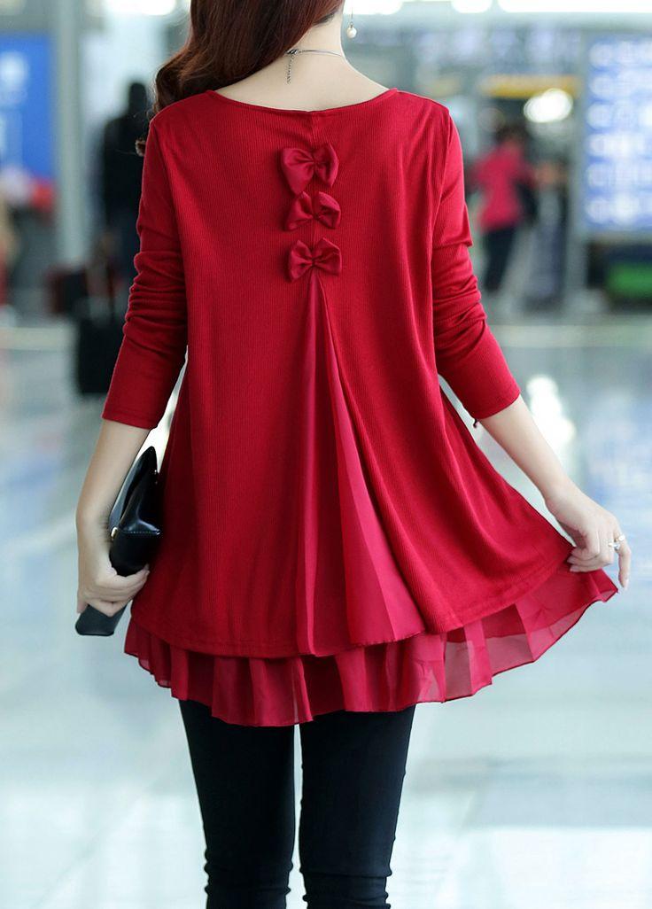 Bowknot Decorated Long Sleeve Chiffon Panel Sweater   lulugal.com - USD $27.19