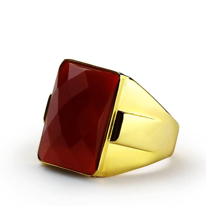 Red Agate Men's Ring in 10k Yellow Gold, Natural Stone Statement Ring #giftforman #onyx #turquoise #finejewelry #agate #mensaccessories #mensjewelryshop #jewelsformen