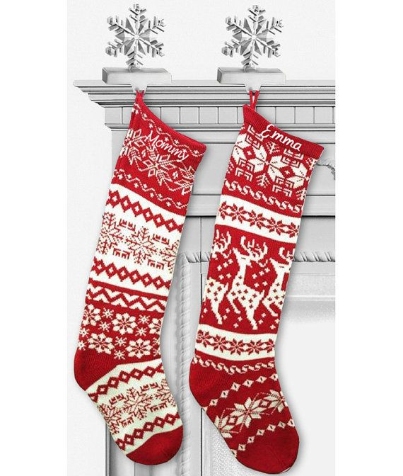 knit christmas stockings red white renindeer or snowflake design nordic modern holiday theme