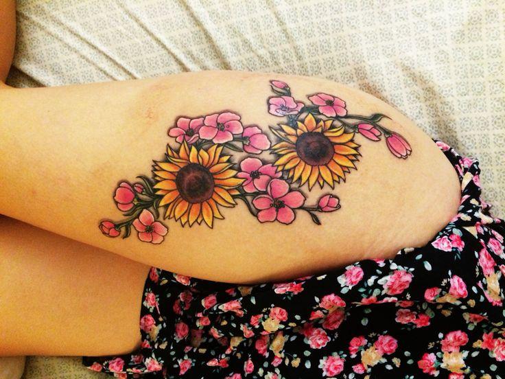 My thigh tattoo. A sunflower bouquet done by the Rev Ryan at Escondido Tattoo Studio. #sunflower #tattoo
