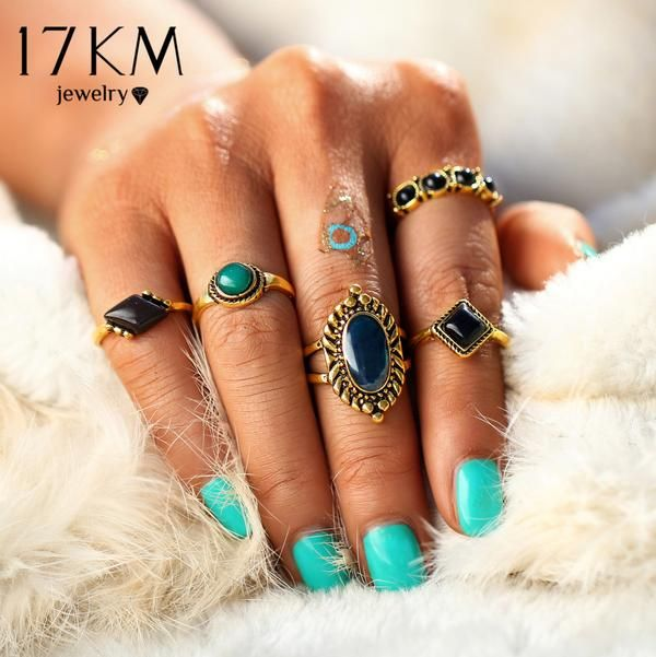 17KM 5PCS/Set Gold Color Turkish Flower Knuckle Ring Sets New Design Fashion Bohemian Crystal Midi Rings for Women Man Jewelry