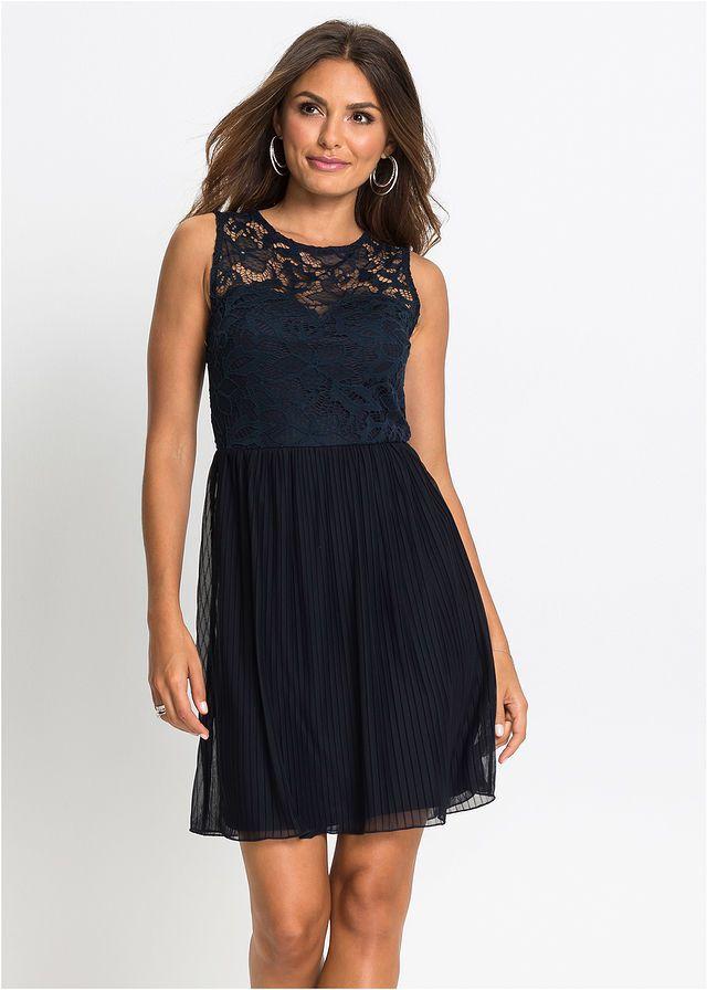 64c79c4780 Dzsörzé ruha pliszírozott szoknyával és csipkével • sötétkék • bonprix  áruház