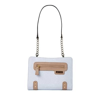 Marcey Delicate pale robin's egg blue gives the Marcy for Mini Miche Bags femininity while lizard-textured faux leather gives her a healthy dose of attitude! Gold hardware accents, a front pocket with a tasseled zipper pull and chic tan details complete this modern look. This Shell matches our Tan Rope Handles.