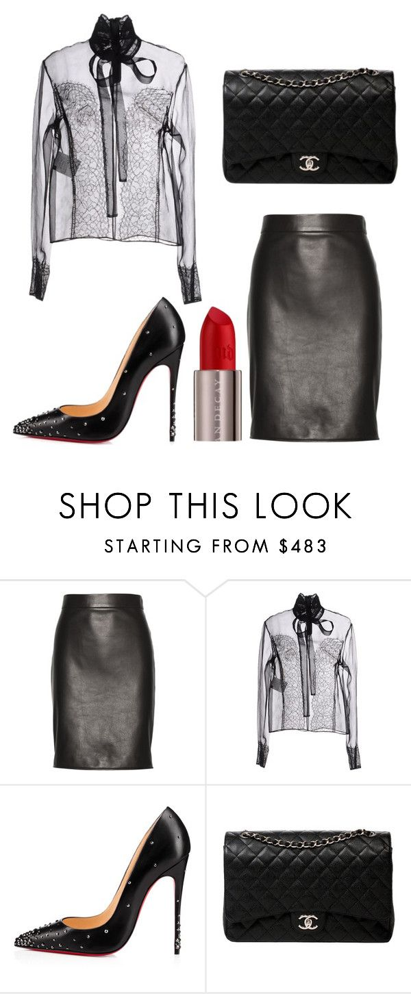 """""""Leather and Lace"""" by kmags4 ❤ liked on Polyvore featuring Tom Ford, Rochas, Christian Louboutin, Chanel and Urban Decay"""