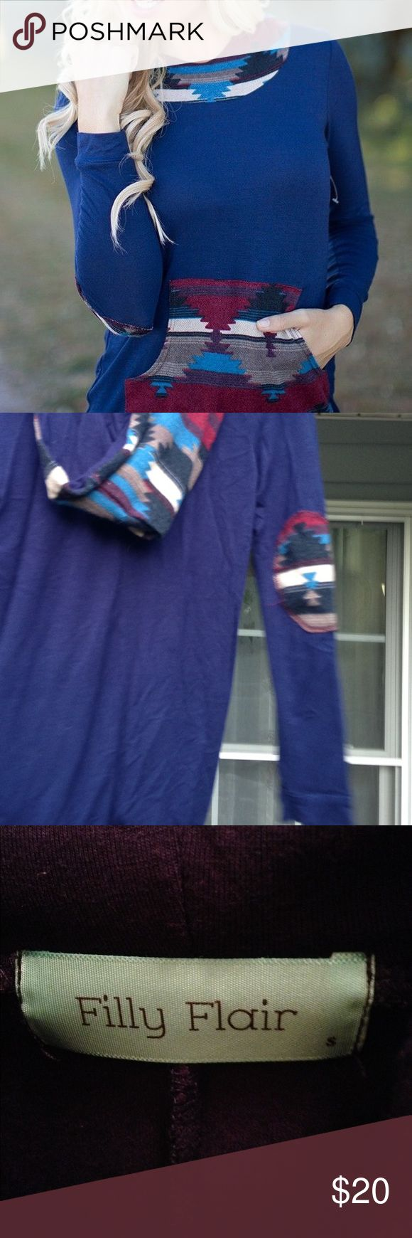 Filly Flair Aztec hoodie shirt Dark blue with Aztec print on the hood, pouch and elbows. Very thin and soft! Filly Flair Tops Tees - Long Sleeve