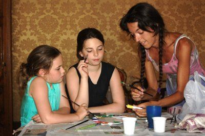 Children's painting art workshops in Venice, Italy.