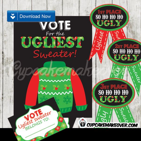 Printable best Ugly Christmas Sweater Party Awards Ribbons, voting cards  and sign. Prepare your