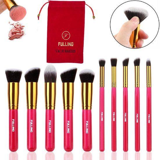 FULLINO Magenta 10 Delig Make-up Kwasten Set Met Mooie Rode FULLINO Tasje -  Professionele Kabuki Kwastenset - Best Brush Set Voor Cadeu - Cosmetica en Make up - Cadeau voor haar - Cadeau voor vrouwen