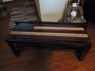 Americana Bench made from an old ladder.