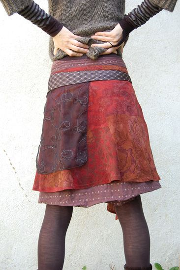 Pretty patchwork wrap skirt. This would be so easy to make! Link shows lots of recycled skirts...- really inspirational for upcycled clothes
