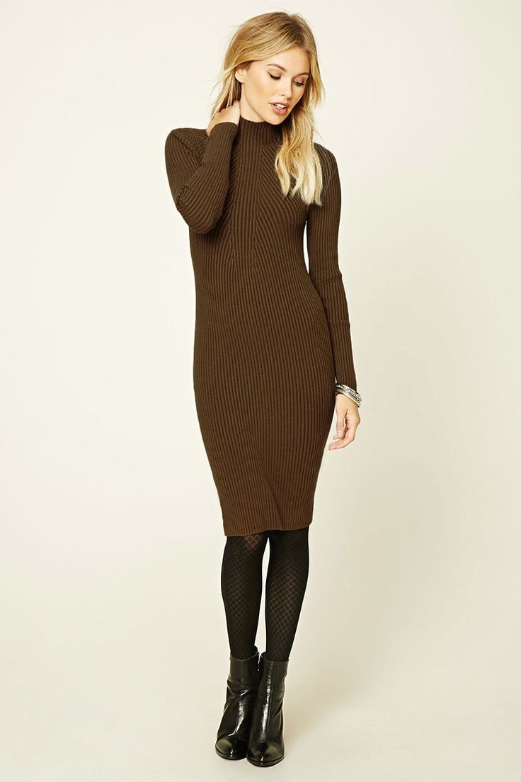Forever 21 Contemporary - A ribbed knit bodycon dress featuring a mock neckline and long sleeves.