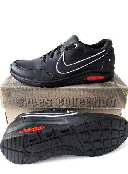Мужские черные кроссовки NIKE из натуральной кожи