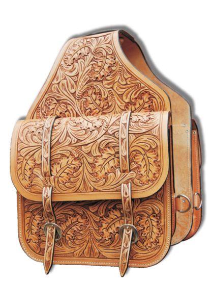 Oak leaf tooled leather saddle bag by evg