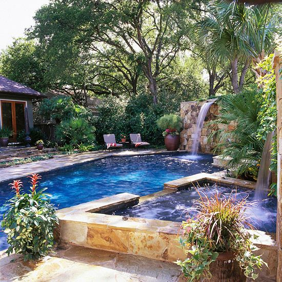 The backyard in my BHG dream home would have a scenic pool for the whole family to enjoy. @Gayle Robertson Roberts Merry Homes and Gardens