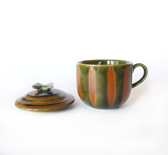 VINTAGE Green & Orange Colors Mug Cup with lid  Butterfly on