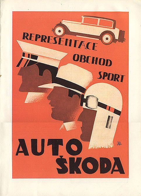 """Advertisement for Auto Skoda from the Czech magazine """"Salon,"""" 1929. Signed """"Ra."""""""