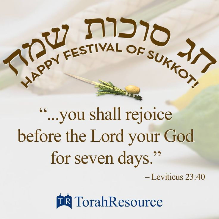 Happy Festival of Sukkot! ~ ... and rejoice before Adonai your God for seven days. You are to celebrate it as a festival to Adonai for seven days in the year. It is a statute forever throughout your generations—you are to celebrate it in the seventh month. Leviticus 23:40b-41