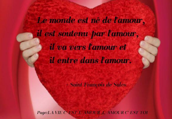 Le monde est né de l'amour, il est soutenu par l'amour, il va vers l'amour et il entre dans l'amour. Saint François de Sales #amour coeur rouge citations saint francois de sales