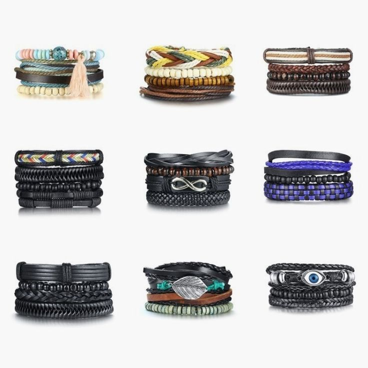 4Pcs/ Set Braided Leather Bracelets for Men Women Vintage Wooden Beaded Wrap Bra…   – Men Jewelry