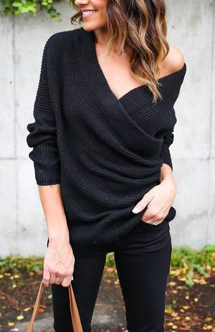 Stay comfy all day in this black sweater. Features with v-neck and irregular design, pairing it with your leggings and boots would be perfect. See more amazing items at Fichic.com!