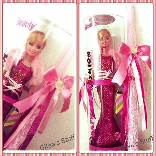 Handmade.. Easter Candle.. Pink.. Lace.. With Doll..