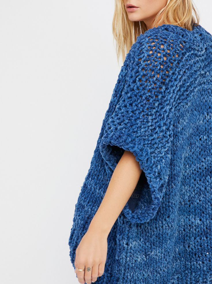 Long Vest | American handmade chunky knit vest featuring fine handspun yarn.    * Drapes effortlessly over any outfit for a cute layered look   * Please Note: Due to the all-natural indigo dye used, some staining may occur.