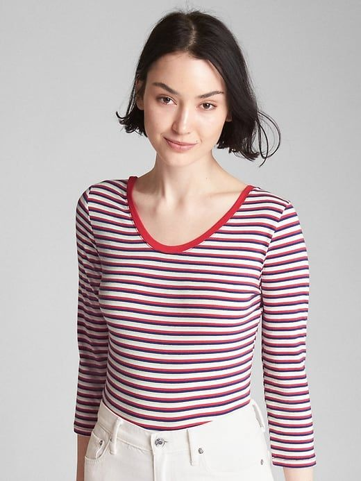 1f5d2dbdfa Gap Womens Long Sleeve Featherweight Stripe Scoopneck Top Red & Navy Stripe