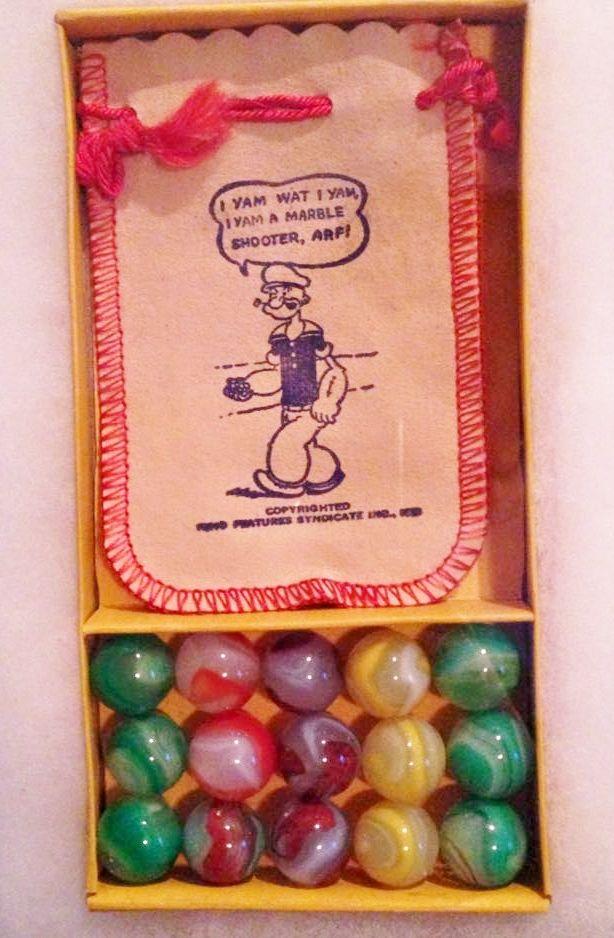 Akro Popeye Marbles Box Set Vintage Fantasy Marbles