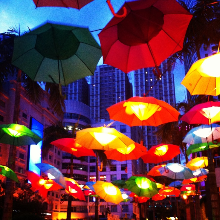 Lovely colorful umbrella lanterns at Eastwood Mall, Quezon City - Philippines