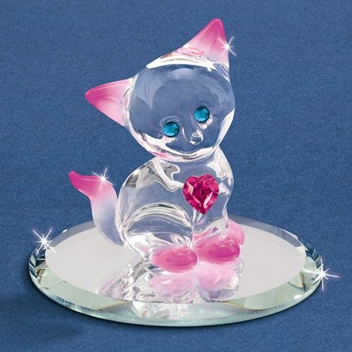 Pink Crystal Kitty with Heart Glass Baron Figurine