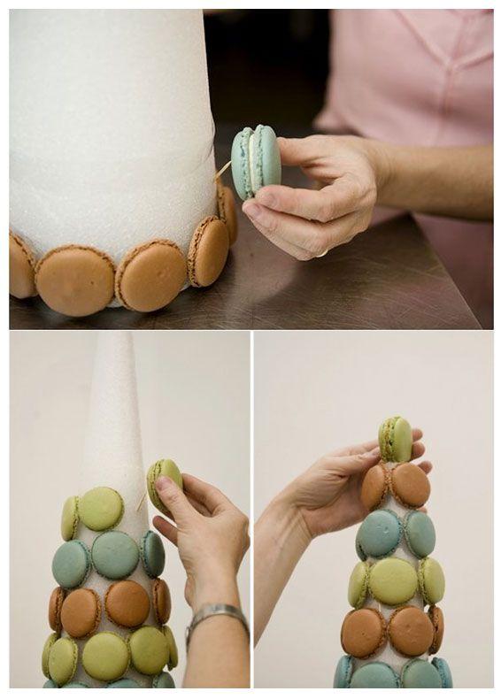 comment faire une pyramide de macarons avec un cône en polystyrène