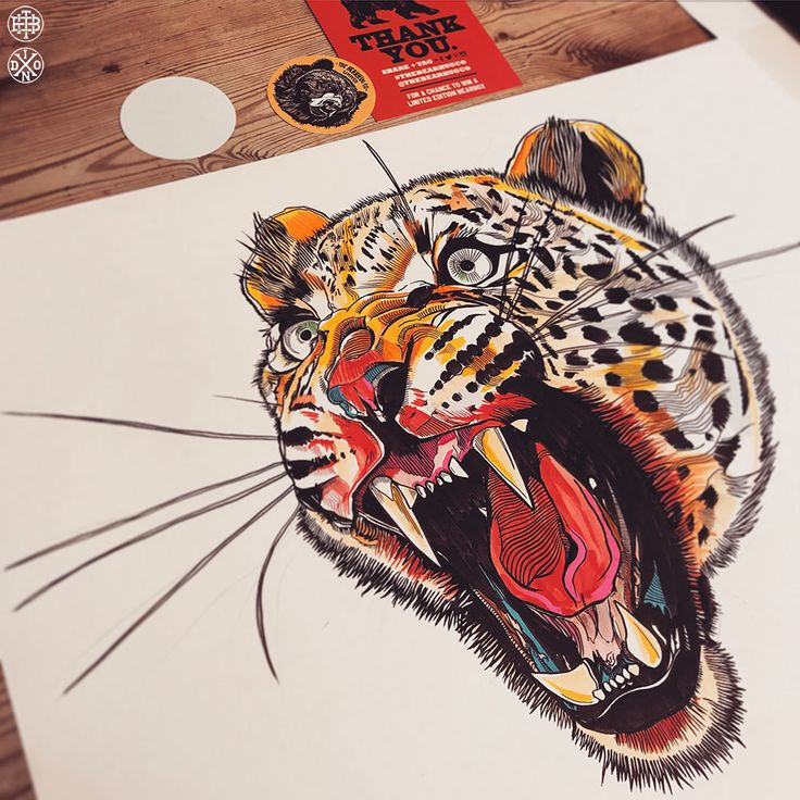 Angry Cat artwork - Feb 2017 - Used a big pile of brush pens for these, from Kuratake to Posca pens. I'm enjoying using colour more & more! #illustration #drawing #leopard #thebearhugco #lukedixon #brushpen