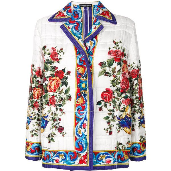Dolce & Gabbana Majolica print quilted jacket ($2,995) ❤ liked on Polyvore featuring outerwear, jackets, white, colorful jackets, white quilted jacket, white floral jacket, flower print jacket and floral quilted jacket