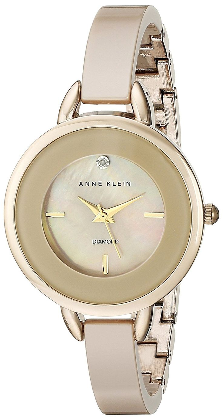 Anne Klein Women's AK/2132TNGB Diamond-Accented Tan Ceramic Bangle Watch * Check out the watch by visiting the link.