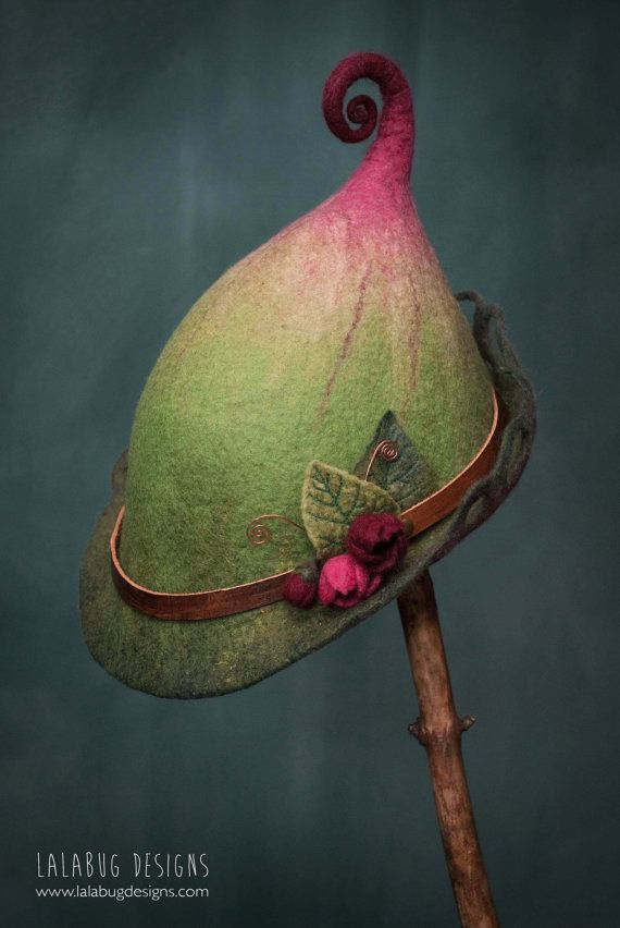 woman's felt fairy hat wren made to order by lalabugdesigns